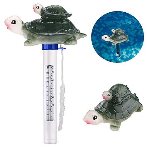 Bearbro Termometro galleggiante per piscina, con stringa,per piscine coperte e all\'aperto, spa e vasche idromassaggio(tartaruga)