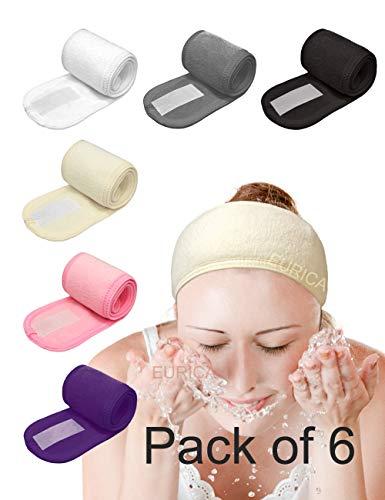 EUICAE Spa Headband Hair Wrap Sweat Headband Head Wrap Hair Towel Wrap Non-slip Stretchable Washable Makeup Headband for Face Wash Facial Treatment Sport Pack of 6 Fits All