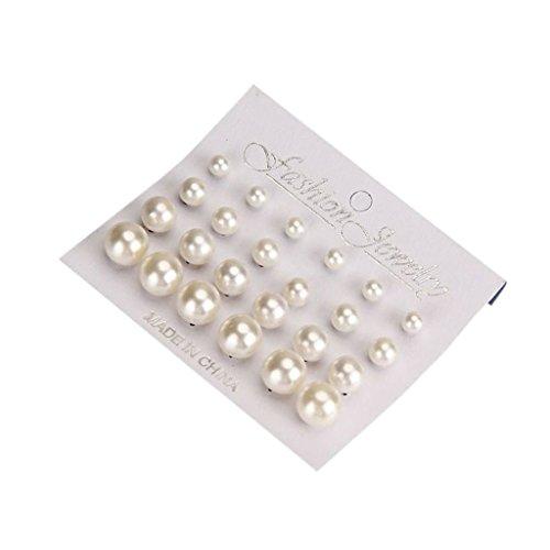 Sharplace Set de 24pcs Blanca Joyas Pendientes de Perlas Imitación Joyería de Mujeres