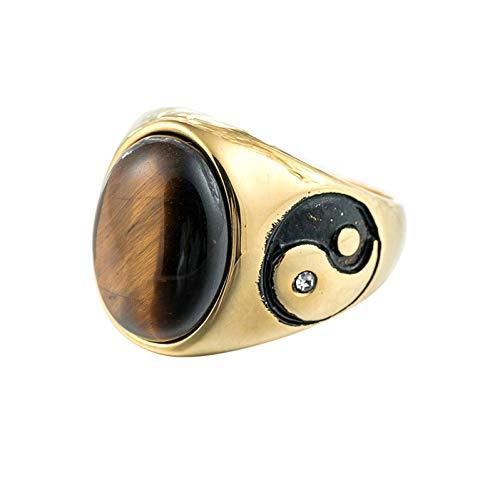 Ubestlove Wedding Band Vintage Gemstone Seal Yin and Yang Ring Rings Ladies Finger Rings Fashion Ring Silver Brown X 1/2