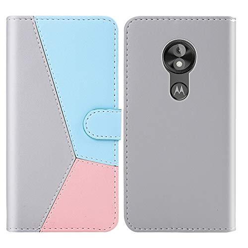 Funda Protectora del teléfono Cubierta del teléfono para Motorola Moto E5 Play Go Tricolor Costura Horizontal Flip TPU + Funda de Cuero PU con Soporte y tragamonedas y Billetera (Color : Pink)