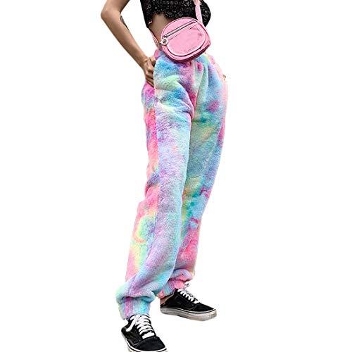OEAK Jogginghose Damen Sporthosen Lang Loose Fit Tie Dye Freizeithosen Elastischer Bund Teddy-Fleece Hosen mit Taschen Warm Sweathose