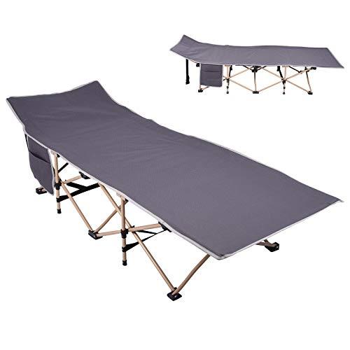 wowspeed Cama de camping, cama plegable, cama de camping con bolsa de transporte y bolsillo lateral, tumbona para carpas, portátil, para viajes, hogar, oficina, playa, hamaca (A)