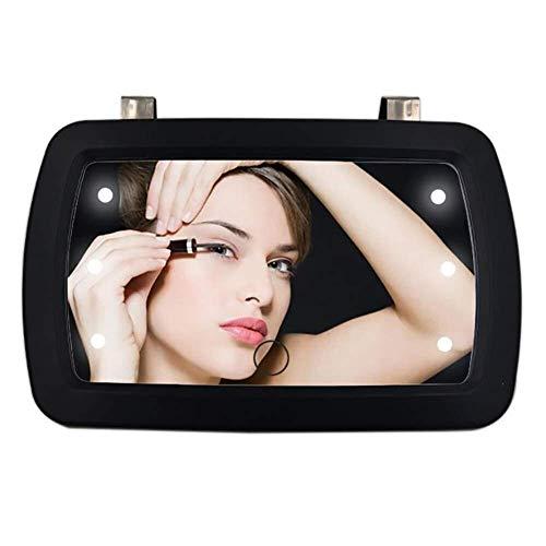 Busirsiz Espejo de coches, espejo de visera de coche, espejo de protector solar de Cosmetic, 6 LED espejo de maquillaje iluminado, espejo de tocador de pantalla táctil, removible para camión de automó