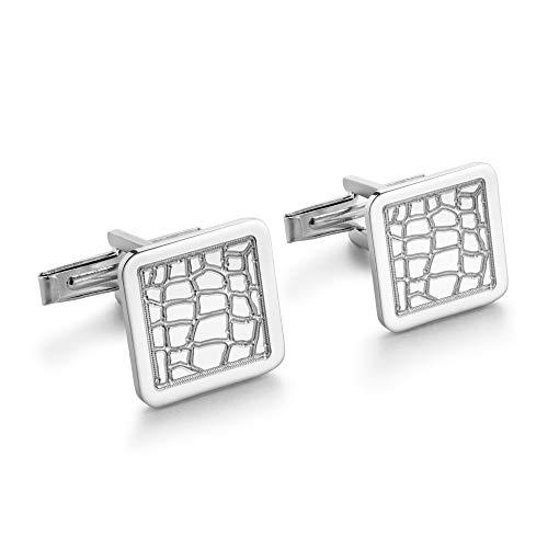 STERLL Herren Manschettenknöpfe Silber 925 Ledermuster Schmucketui Geschenk für Männer