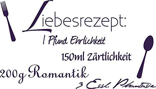 Graz Design 720135_57_040 Wandtattoo Spruch Zitat Liebesrezept Deko für Küche Wanddeko für Schlafzimmer Wandgestaltung 100x57cm Violett