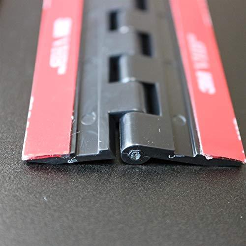 4x Negro Bisagras acrílicas: no se requiere pegamento. Autoadhesivas. Plástico Negro acrílico 75mm