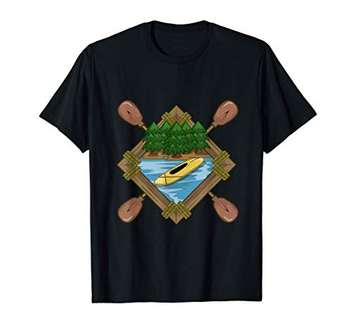 Kanu Kanadier Natur Waldbild Forst Kajak fahren Kanuboot T-Shirt