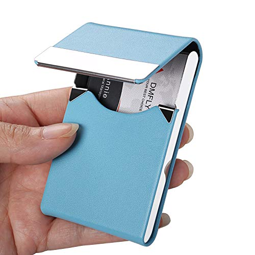 DMFLY Business Card Holder, PU Leather Business Card Case, Metal Card Holder, Slim Card Case, Pocket Name Card Holder for Women and Men, Magnetic Closure, Light Blue -lb