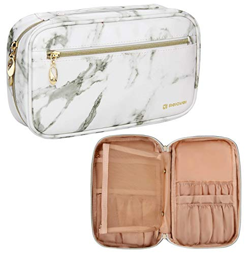 Makeup Brush Bag Multi functional Cosmetic Case Large Makeup Handbag Travel Brush Holder Cosmetic Bag Professional Makeup Brush Organizer Cosmetic Pouch for Woman and Girl(Marble White)