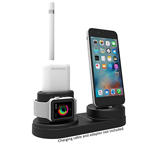 Charging Stand for Apple Watch and iPhone, 4 in 1 Charging Holder Compatible for Apple Pencil/iWatch Series 4/3/2/1/AirPods/iPhone X/XS/XS Max/8 / 8Plus / 7/7 Plus /6S /6S Plus, No Charger Station