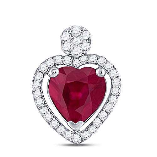 Jewels By Lux 10K White Gold Womens Heart Lab Created Ruby Fashion Pendant 1 1/2 Cttw