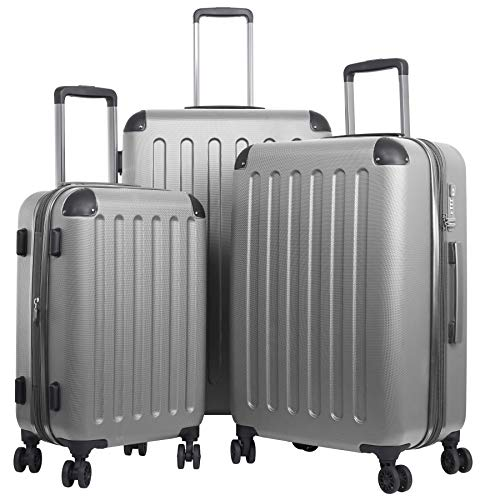 TRAVELWOLF Reisekoffer Deluxe 2.0 Gepäckset mit 3 Hartschalen-Koffer, Trolley mit TSA-Schloß, Zwillingsrollen, Größen M-L-XL