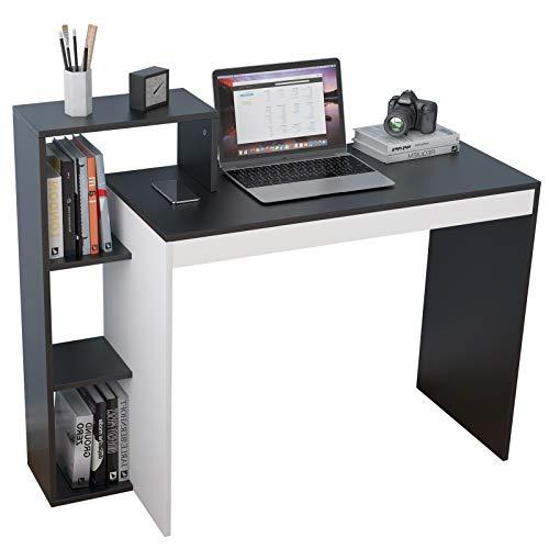 soges Scrivania per Computer in Legno con scaffale impiombato, scrivania da Studio, scrivania da Lavoro con ripiano portaoggetti,SZKST-BD-2
