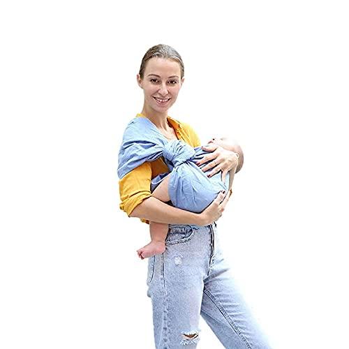 Uamita - Fular portabebés de lino 80% y 20% algodón orgánico. Tejido rígido resistente, fresco y transpirable. Práctico y seguro para la mamá, fresco y cómodo para el bebé (azul)