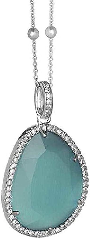 Boccadamo, collana per donna, in bronzo rodiato con contromaglia in zirconi e pendente in cristallo Angr01