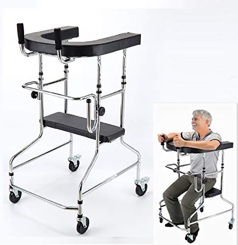 PXSRANY Andador Rollator con Freno por Presion Aluminio Ultraligero,Andador para Ancianos, Aluminio, Plegable, Frenos De Maneta, 4 Ruedas,Plata