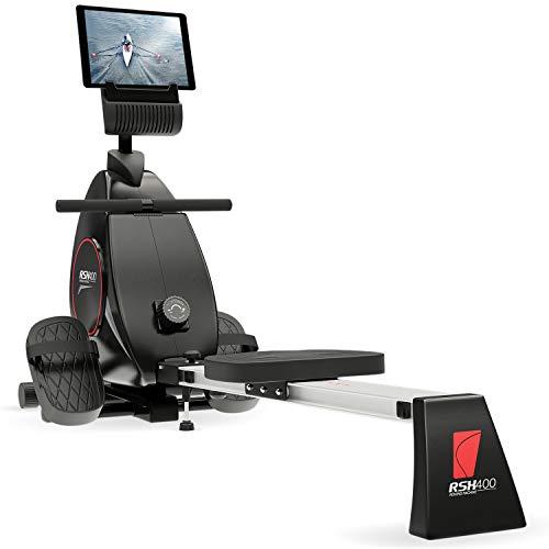 Sportstech RSX400 Rammeur - Marque Allemande de qualité -Video Events & multijoueur APP, Ceinture de fréquence Cardiaque avec rameur pour Votre Maison, Pliable avec 8X magnétorésistance