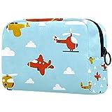 Bolsa de maquillaje, bolsa de cosméticos portátil, bolsa de viaje de tolietry bolsa, bolsa de maquillaje grande para mujeres y niñas avión de dibujos animados