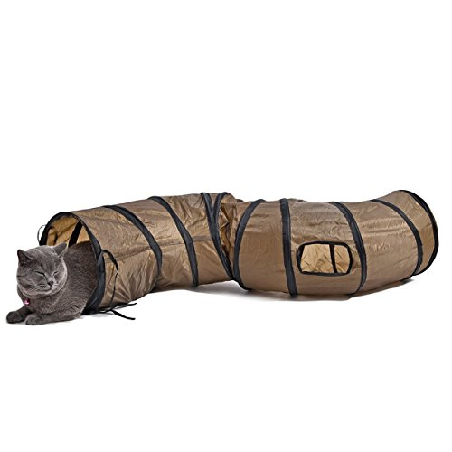 PAWZ Road Collapsible Cat Tunnel Toys,Play Tube Kittens,Rabbits 25 * 120 cm-Best Play House & Shelter to Keep Pet Entertained Braun