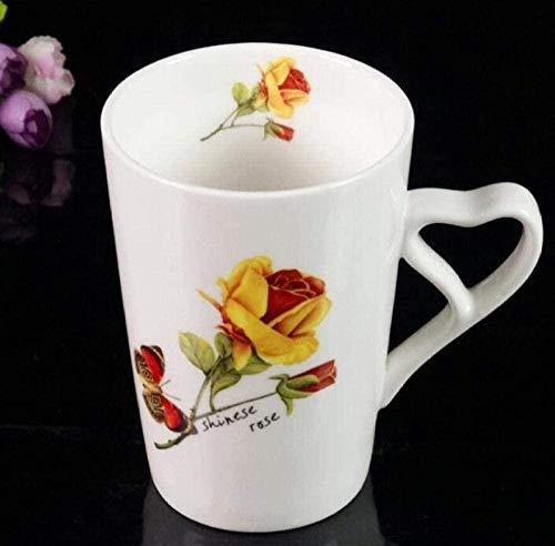 Kit taza de café taza de cerámica,Con diseño de plantas de flores Porcelana blanca mate para el desayuno Taza de café con leche para el vientre grande Hogar