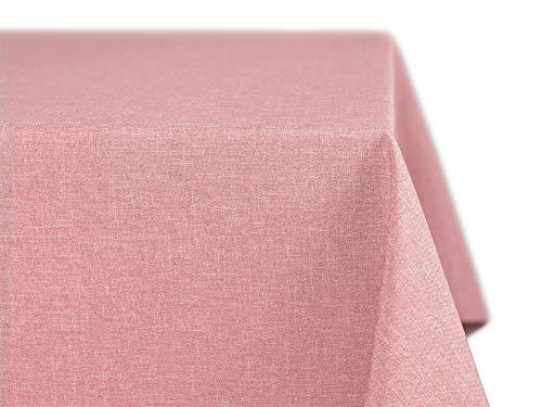 BEAUTEX fleckenabweisende und bügelfreie Tischdecke - Tischtuch mit Lotuseffekt - Tischwäsche in Leinenoptik - Größe und Farbe wählbar, Eckig 90x90 cm, Rose