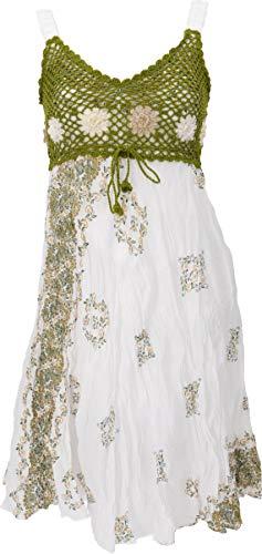 GURU SHOP Minikleid, Sommerkleid, Krinkelkleid, Damen, Weiß/grün, Synthetisch, Size:38, Kurze Kleider Alternative Bekleidung