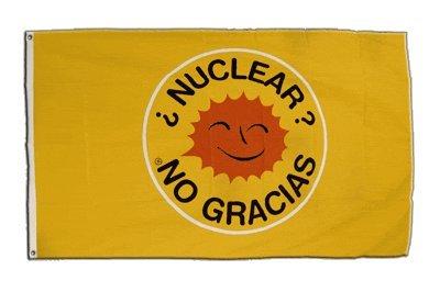 Fahne / Flagge Atomkraft Nein Danke spanisch - Nuclear No Gracias + gratis Sticker, Flaggenfritze®