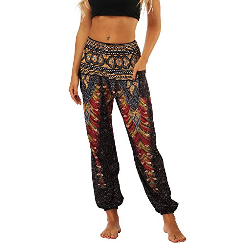 Lu's Chic Women's Boho Pants Harem Smocked Waist Yoga Hippie Palazzo Summer Beach Pants Pattern4 One Size