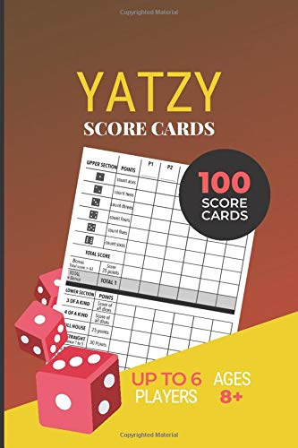 YATZY Score Cards: 100 Yahtzee Score Pads | Ultimate Dice Board Game | Game Record Score Keeper Book | Yahtzee Score Sheet | Red Cover