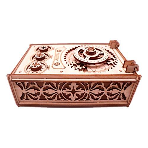 3D Holzbausatz, GODNECE Passwort Treasure Box 3D Holz Puzzle-Mechanische Bausatz 3D Kinder DIY Modellbau Lasercut Puzzle Holz Bausatz für Kinder Erwachsene