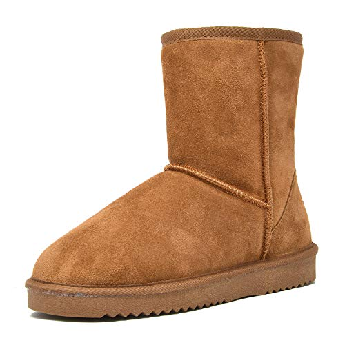 DREAM PAIRS Women's Shorty-New Chesnut Mid Calf Winter Snow Boots Size 9 M US