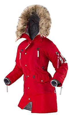 AIRBOSS Women's Parka N-3B Vega, Warm Jacket for Cold Weather, Thinsulate Filling (XL, Red Metallic) by