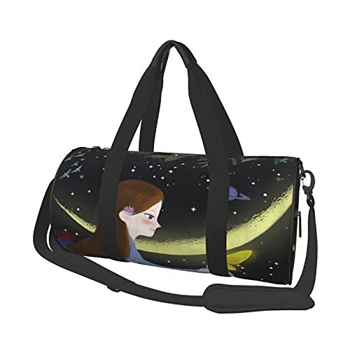 ADONINELP Reisetasche Seesack Loveky Baby Angle Spielen Sie die Geige mit Feder Vintage Ölgemälde , Zylinder Reisetasche Mode Leinwand Licht Tragegurt Gepäcktasche