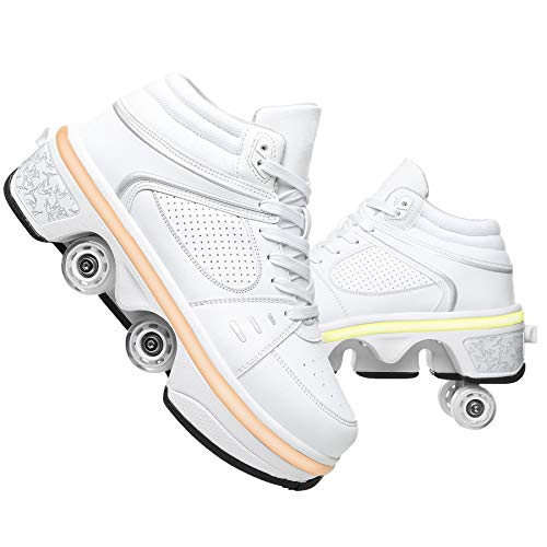 GWYX Rollschuhe Damen - Schuhe Mit Rädern Für Erwachsene, 2-in-1-Parkour-Schuhe, Zweireihige Vierrunden-Laufschuhe Skates LED-blinkende Sportschuhe,White-EUR35