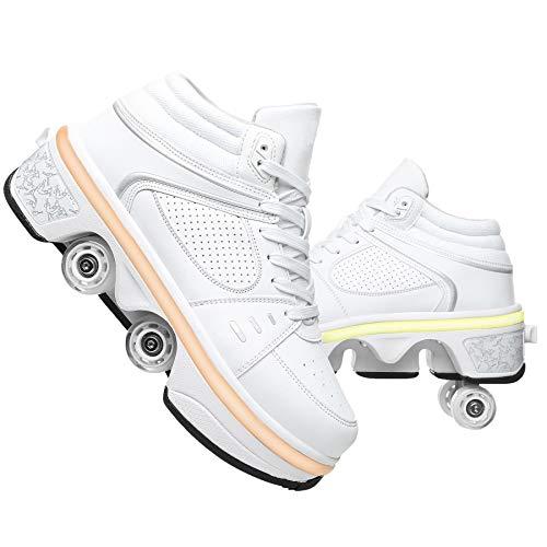 GWYX Rollschuhe Damen - Schuhe Mit Rädern Für Erwachsene, 2-in-1-Parkour-Schuhe, Zweireihige Vierrunden-Laufschuhe Skates LED-blinkende Sportschuhe,White-EUR38