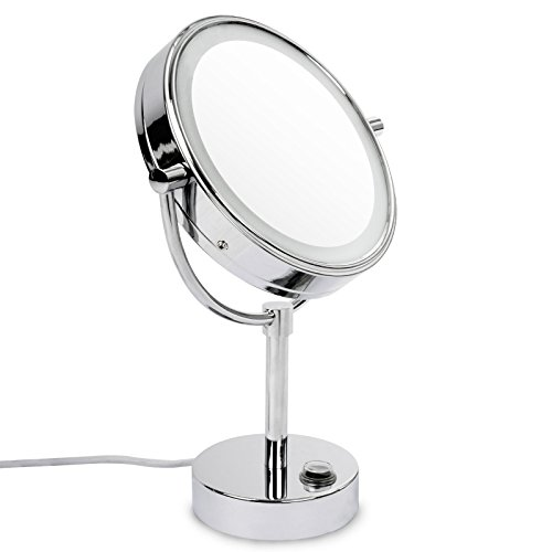 casa pura® Kosmetikspiegel mit LED Beleuchtung | Standspiegel mit Licht | höchster Komfort bei Gesichtspflege und Rasieren | Spiegel Schminkspiegel | 3 hohe Vergrößerungsgrade wählbar (7-Fach)