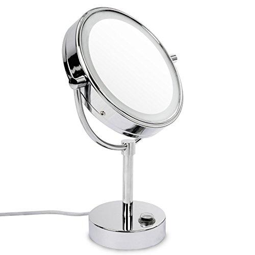 casa pura® Kosmetikspiegel mit LED Beleuchtung | Standspiegel mit Licht | höchster Komfort bei Gesichtspflege und Rasieren | Spiegel Schminkspiegel | 3 hohe Vergrößerungsgrade wählbar (5-Fach)