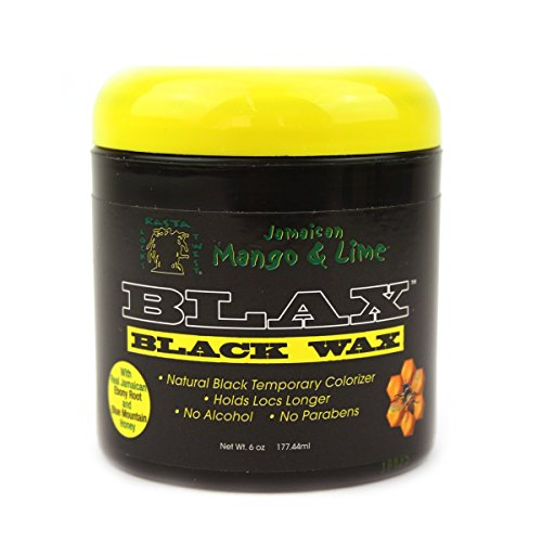 Jamaican Mango & Lime Blax Black Wax 6oz - dreadlock holder wax and Colorizer - Parabens & alcohol Free dread waxing natural cream - Non sticky & good smell for locks