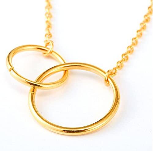 XDY Ladies Double Circle Doble Círculo Collar de Titanio Acero Fino Cadena de clavícula Apilada Anillo Concéntrico Colgante Accesorio Simple,Oro,Seam