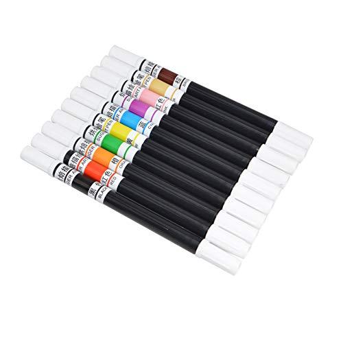 VineonTec 10 lápices de colores comestibles de pigmentos con pincel para colorear alimentos, herramientas de decoración de tartas, herramientas de dibujo DIY (lápiz de doble punta)