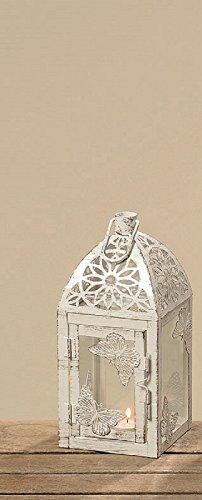 B Laterne Windlicht Weiß Eisen Metall Pulverbeschichtet Schmetterling Shabby Landhaus ca 22 cm