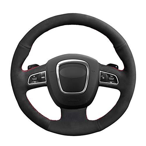 HCDSWSN Auto Lenkradhüllen,Für Audi A4 S4 2005-2012 A6 S6 A8 2006-2011 S8 2007, Für Seat Exeo 2009-2012 Schwarzes Wildleder DIY handgenähte Autolenkradabdeckung