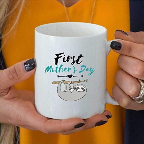 Taza de café de cerámica divertida para el día de la madre, regalo para el día de la madre, ideal para regalo para mamá, nueva mamá, primera vez, mamá, perezoso y bebé, taza de café de cerámica bq179