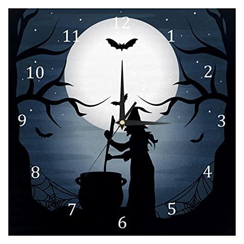 BestIdeas, orologio da parete al quarzo silenzioso per Halloween, da strega di Halloween, senza ticchettio, funzionamento a batteria, per camera da letto, soggiorno, cucina, ufficio