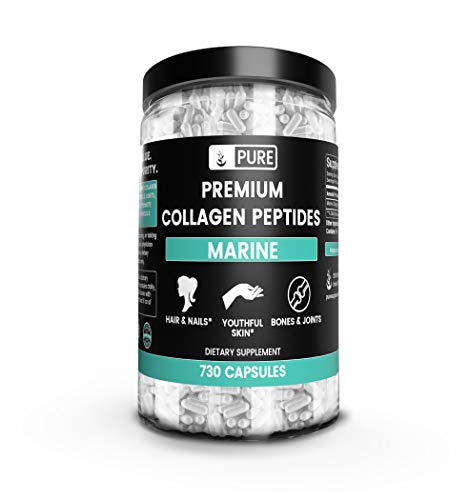 Premium Collagen Peptides, 1920 mg Serving, 730 Caps, Hydrolyzed Fish Collagen, Non-GMO, No Taste & No Smell, 100% Purity, No Additives or Filler, Made in USA