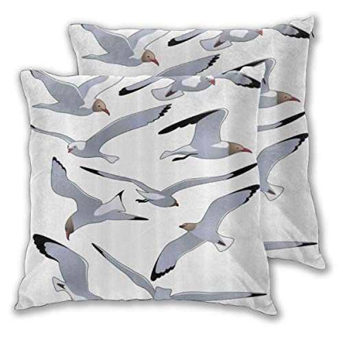 WINCAN Square Cushion Cover 55x55cm 2 pieces Set,Starfish Life Buoy Pattern Digital Print,decorative Throw Pillow Case for Couch Sofa Chair Bed Home office Decor