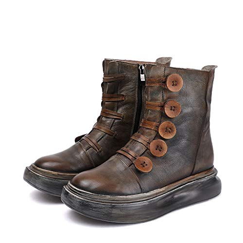 Womens Vintage Boots, Outdoor Work Walking Leather Booties Thick Bottom Wedge Mid Ankle Boots,Grey-35/UK 2/US 4
