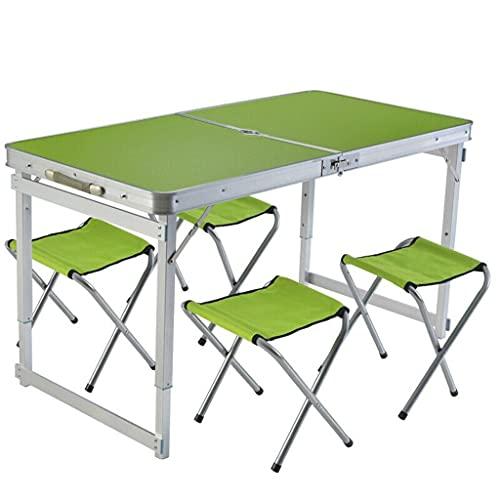 XiYou Mesa Plegable Mesa portátil Altura Ajustable Aleación de Aluminio para Exteriores para Playa Barbacoa Parque Camping con 4 taburetes Plegables de Tela Picnic (Verde)