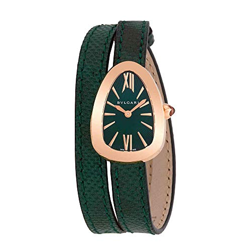 Bvlgari Serpenti Green Dial Double-Twirl Leather Ladies Watch 102726